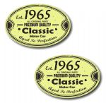 PAIR Distressed Aged Established 1965 Aged To Perfection Oval Design Vinyl Car Sticker 70x45mm Each